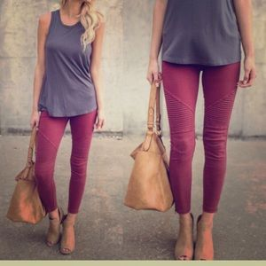 Pants - NWT moto leggings burgundy